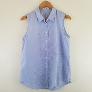 Equipment Blue Collared Stripe Sleeveless Top B1.